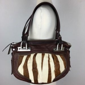 B Makowsky Animal Hair Leather Purse